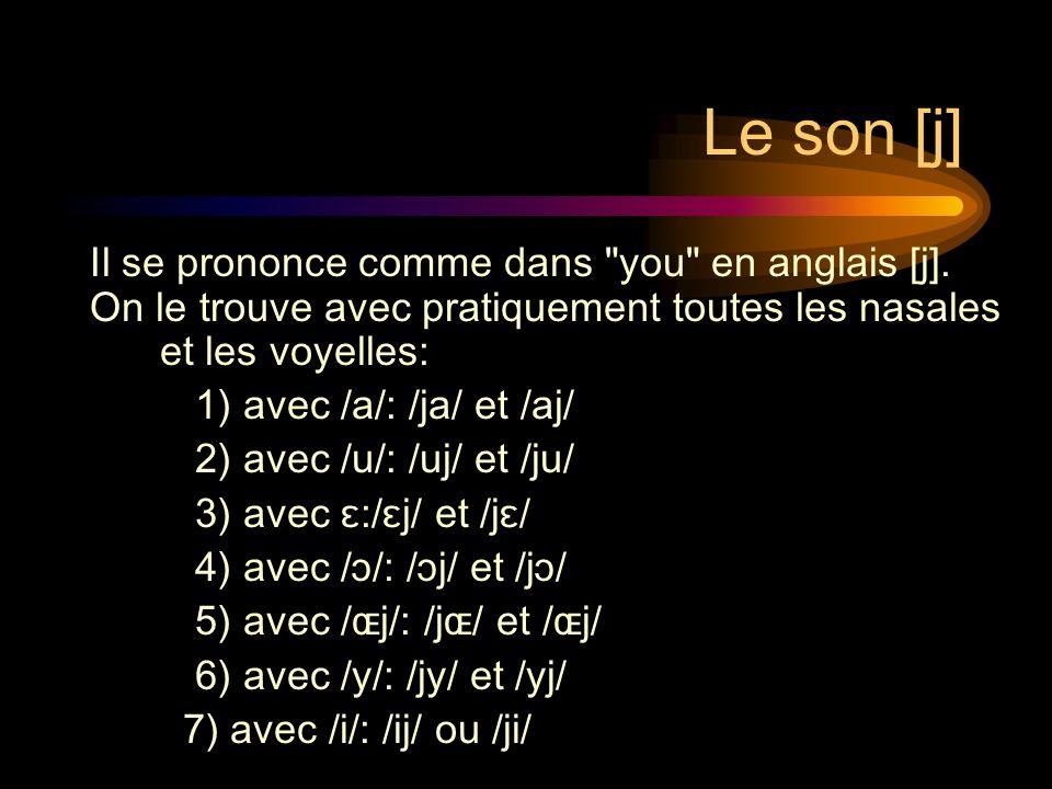 Le son [j] Il se prononce comme dans you en anglais [j].